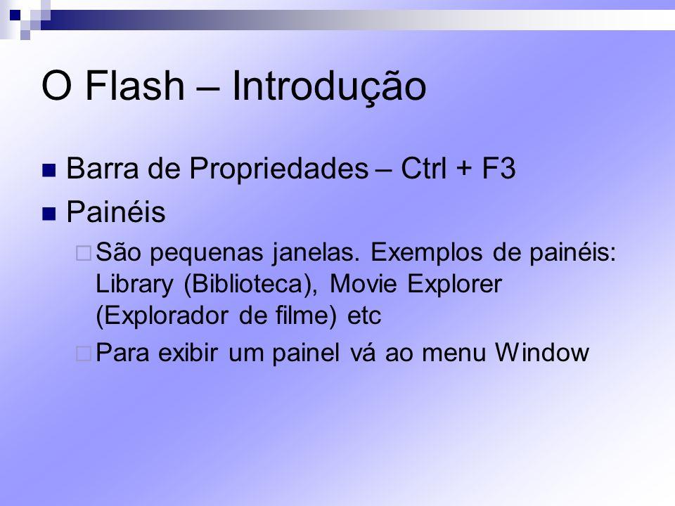O Flash – Introdução Barra de Propriedades – Ctrl + F3 Painéis