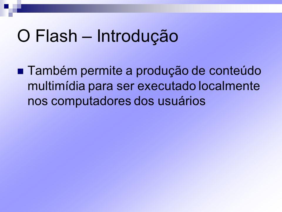 O Flash – Introdução Também permite a produção de conteúdo multimídia para ser executado localmente nos computadores dos usuários.