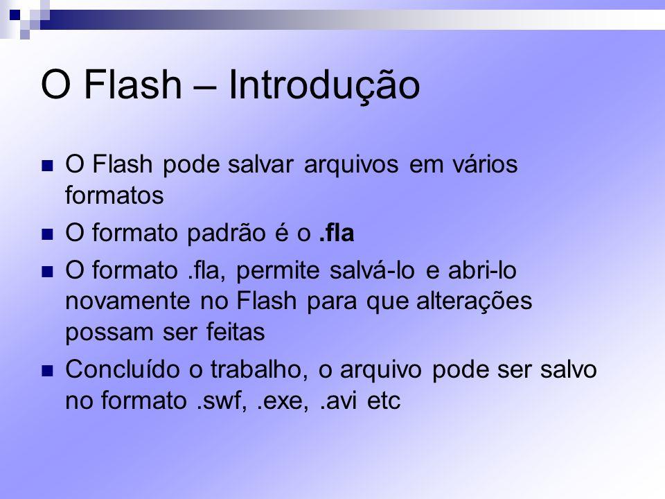O Flash – Introdução O Flash pode salvar arquivos em vários formatos