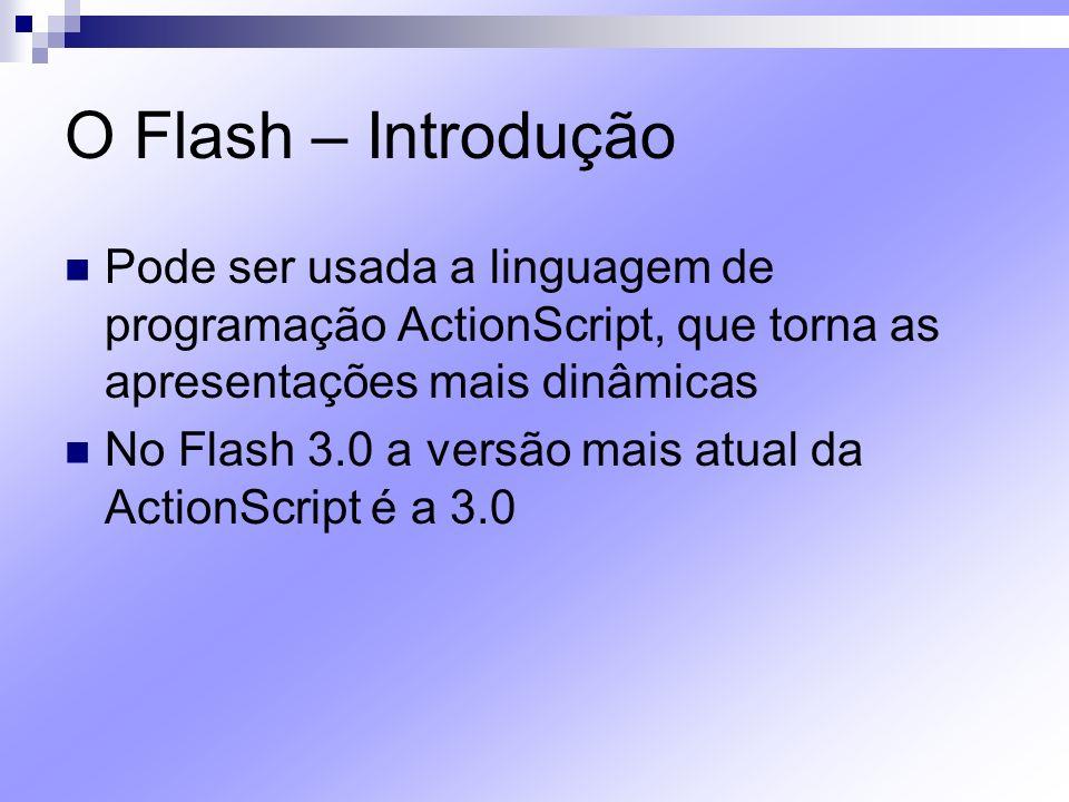 O Flash – Introdução Pode ser usada a linguagem de programação ActionScript, que torna as apresentações mais dinâmicas.