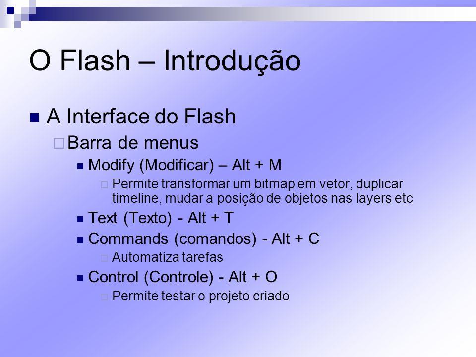 O Flash – Introdução A Interface do Flash Barra de menus