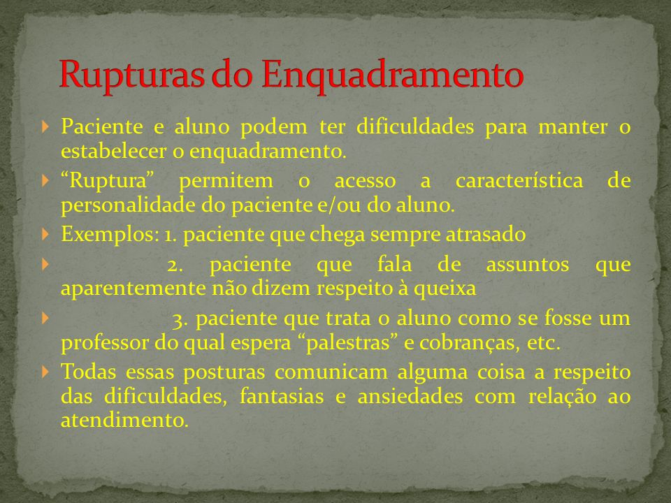 Rupturas do Enquadramento