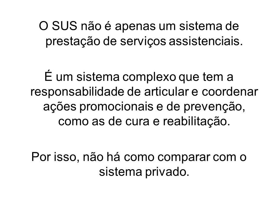O SUS não é apenas um sistema de prestação de serviços assistenciais.