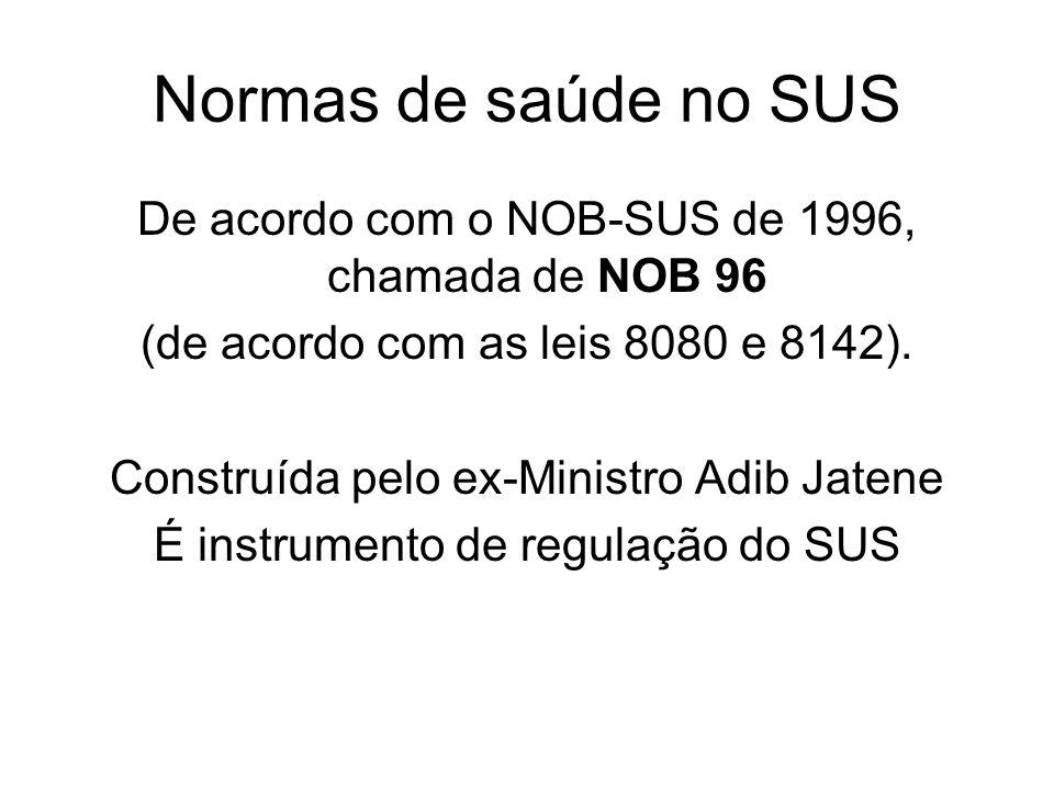Normas de saúde no SUS De acordo com o NOB-SUS de 1996, chamada de NOB 96. (de acordo com as leis 8080 e 8142).