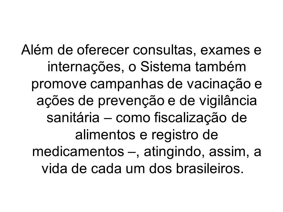 Além de oferecer consultas, exames e internações, o Sistema também promove campanhas de vacinação e ações de prevenção e de vigilância sanitária – como fiscalização de alimentos e registro de medicamentos –, atingindo, assim, a vida de cada um dos brasileiros.