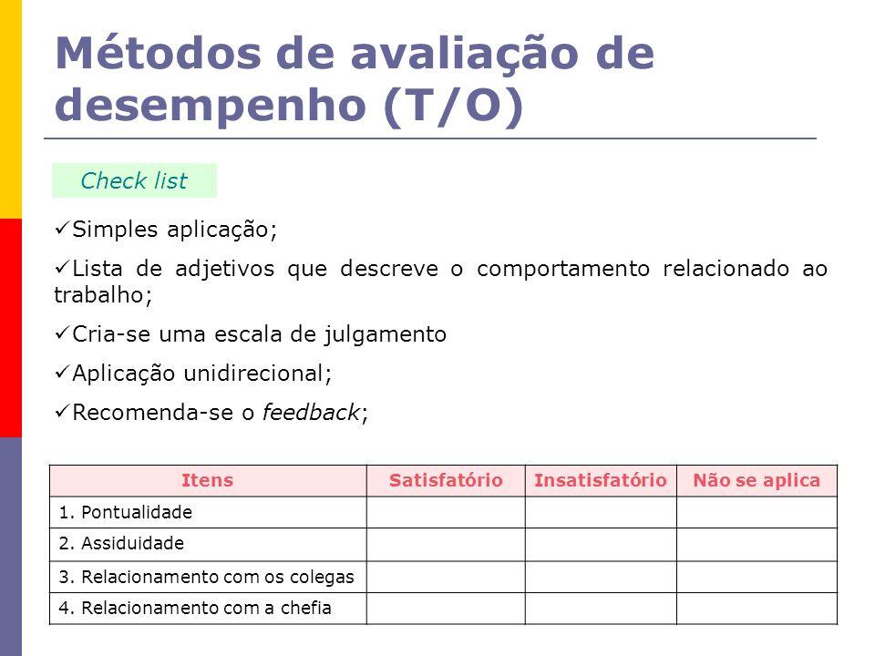 Métodos de avaliação de desempenho (T/O)