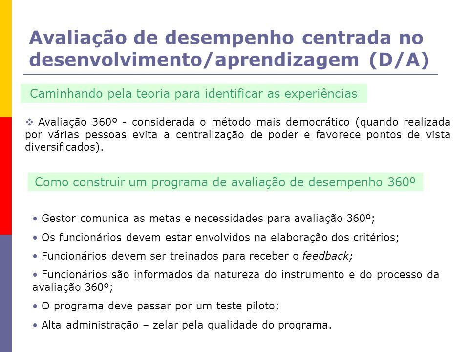 Avaliação de desempenho centrada no desenvolvimento/aprendizagem (D/A)