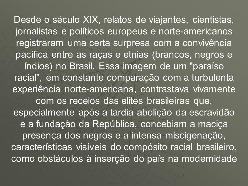 Desde o século XIX, relatos de viajantes, cientistas, jornalistas e políticos europeus e norte-americanos registraram uma certa surpresa com a convivência pacífica entre as raças e etnias (brancos, negros e índios) no Brasil.