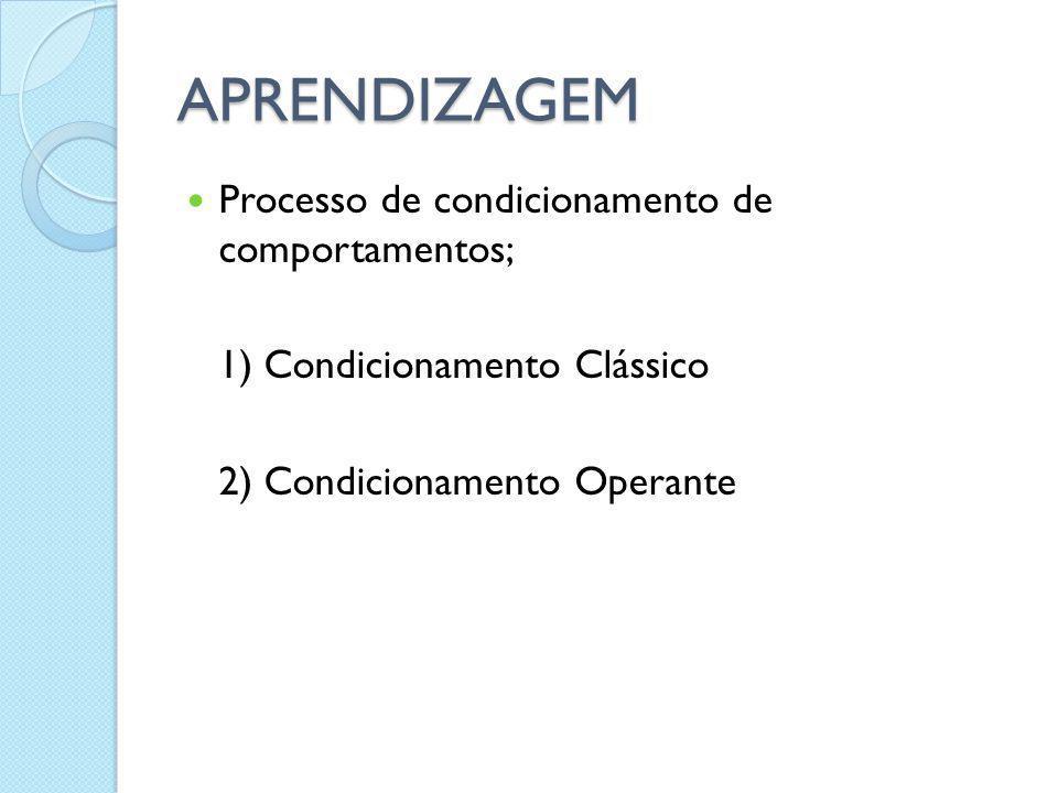 APRENDIZAGEM Processo de condicionamento de comportamentos;