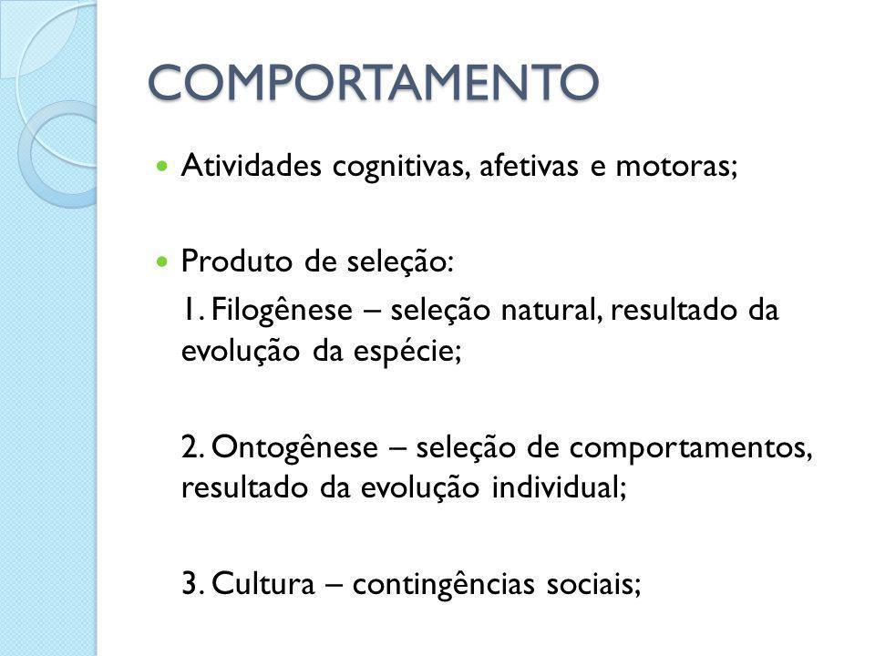 COMPORTAMENTO Atividades cognitivas, afetivas e motoras;