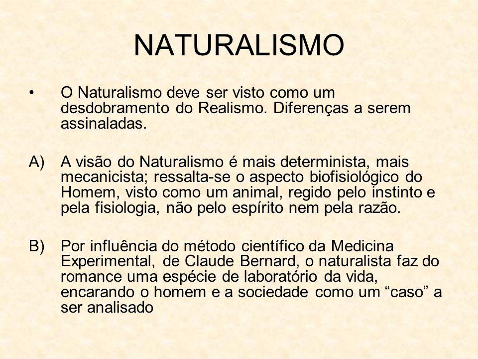 NATURALISMO O Naturalismo deve ser visto como um desdobramento do Realismo. Diferenças a serem assinaladas.