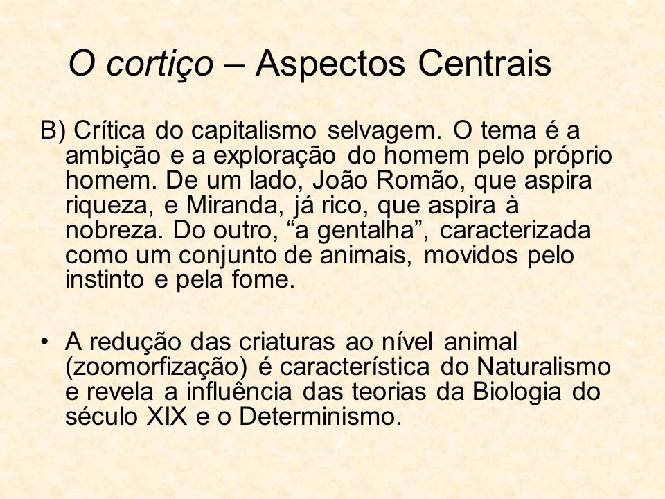 O cortiço – Aspectos Centrais