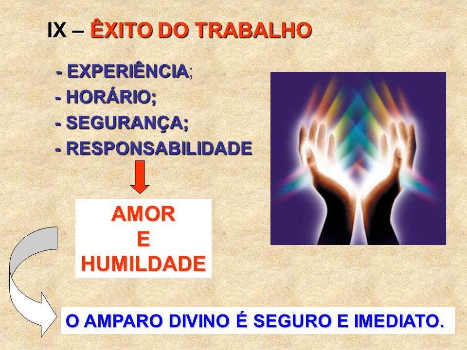 IX – ÊXITO DO TRABALHO AMOR E HUMILDADE - EXPERIÊNCIA; - HORÁRIO;