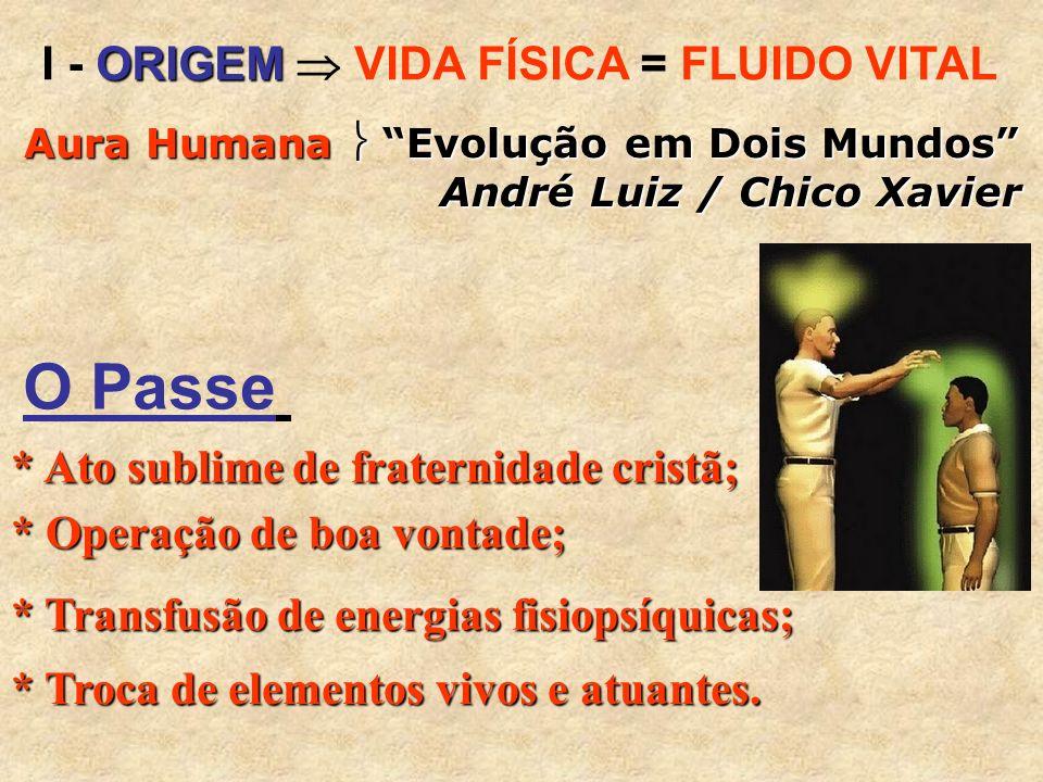 O Passe I - ORIGEM  VIDA FÍSICA = FLUIDO VITAL