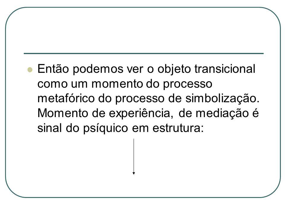 Então podemos ver o objeto transicional como um momento do processo metafórico do processo de simbolização.