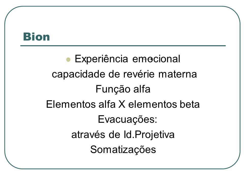 Bion Experiência emocional capacidade de revérie materna Função alfa