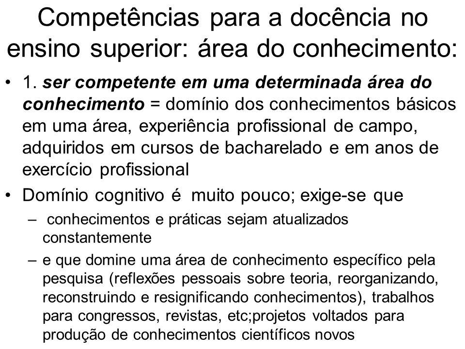Competências para a docência no ensino superior: área do conhecimento: