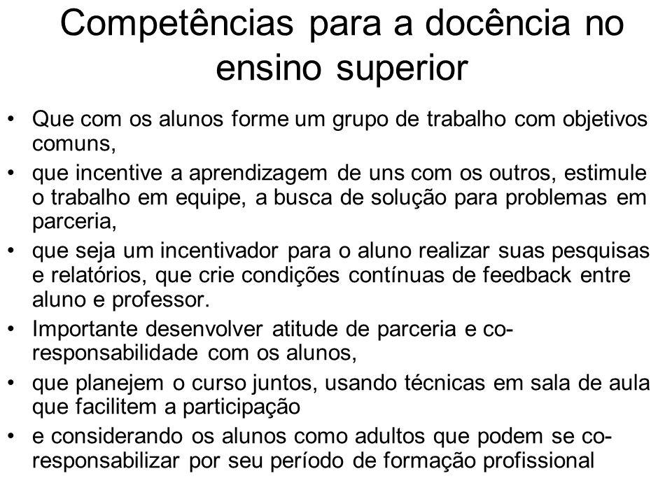 Competências para a docência no ensino superior