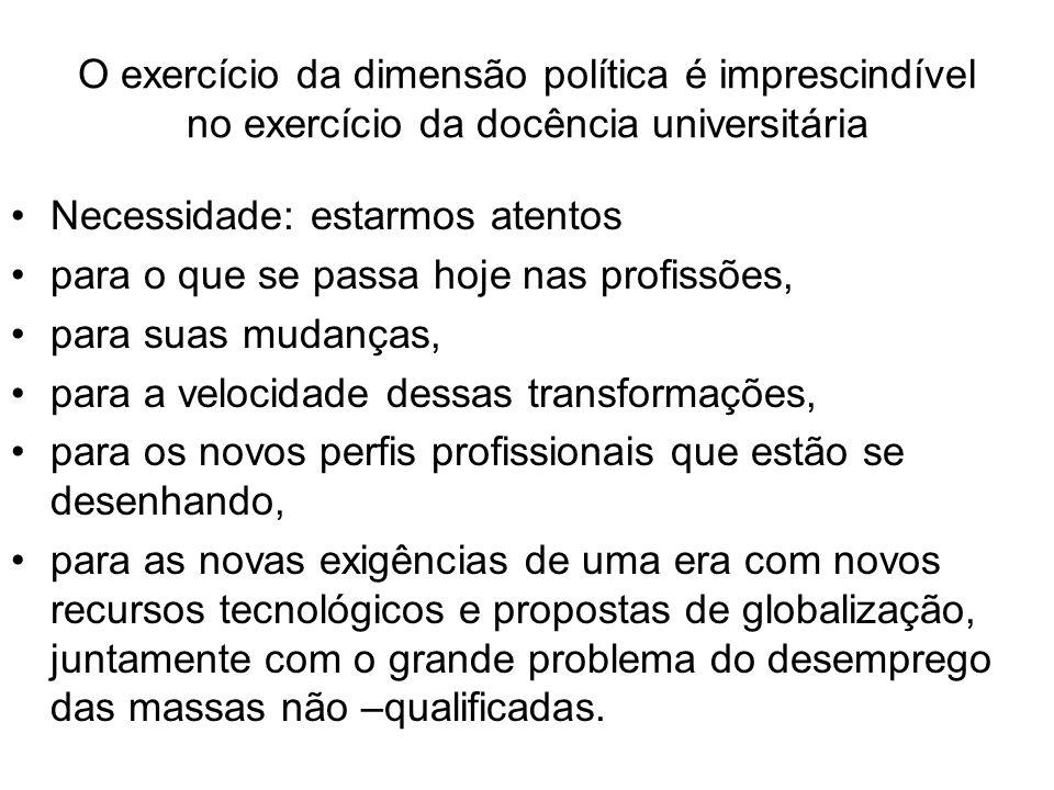 O exercício da dimensão política é imprescindível no exercício da docência universitária