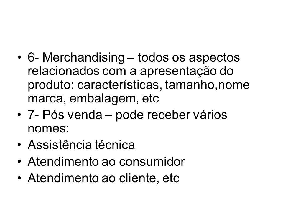 6- Merchandising – todos os aspectos relacionados com a apresentação do produto: características, tamanho,nome marca, embalagem, etc