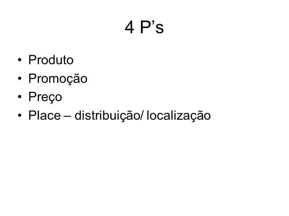 4 P's Produto Promoção Preço Place – distribuição/ localização
