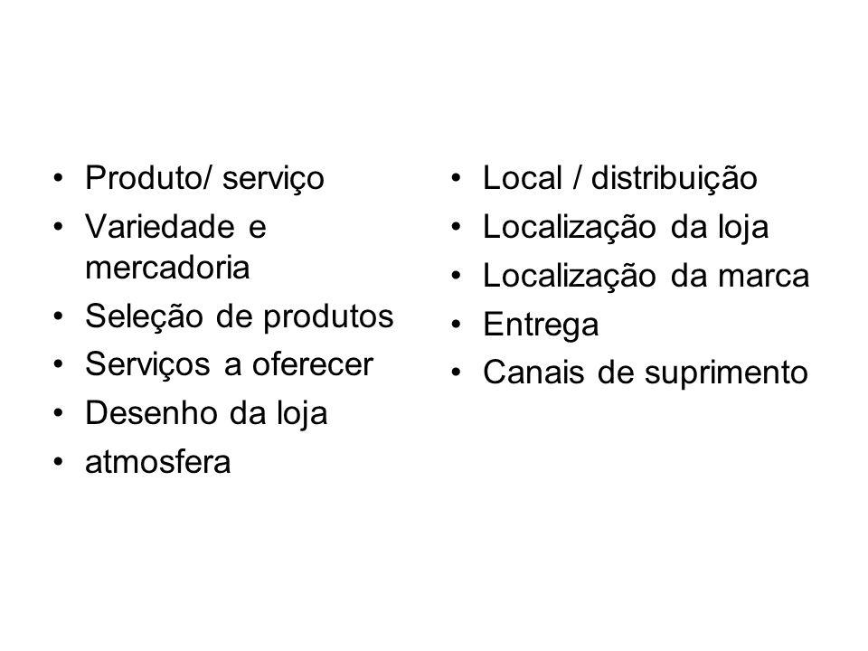 Produto/ serviçoVariedade e mercadoria. Seleção de produtos. Serviços a oferecer. Desenho da loja. atmosfera.