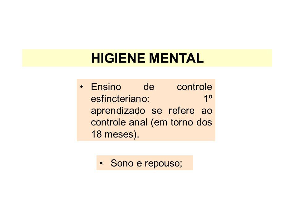 HIGIENE MENTAL Ensino de controle esfincteriano: 1º aprendizado se refere ao controle anal (em torno dos 18 meses).