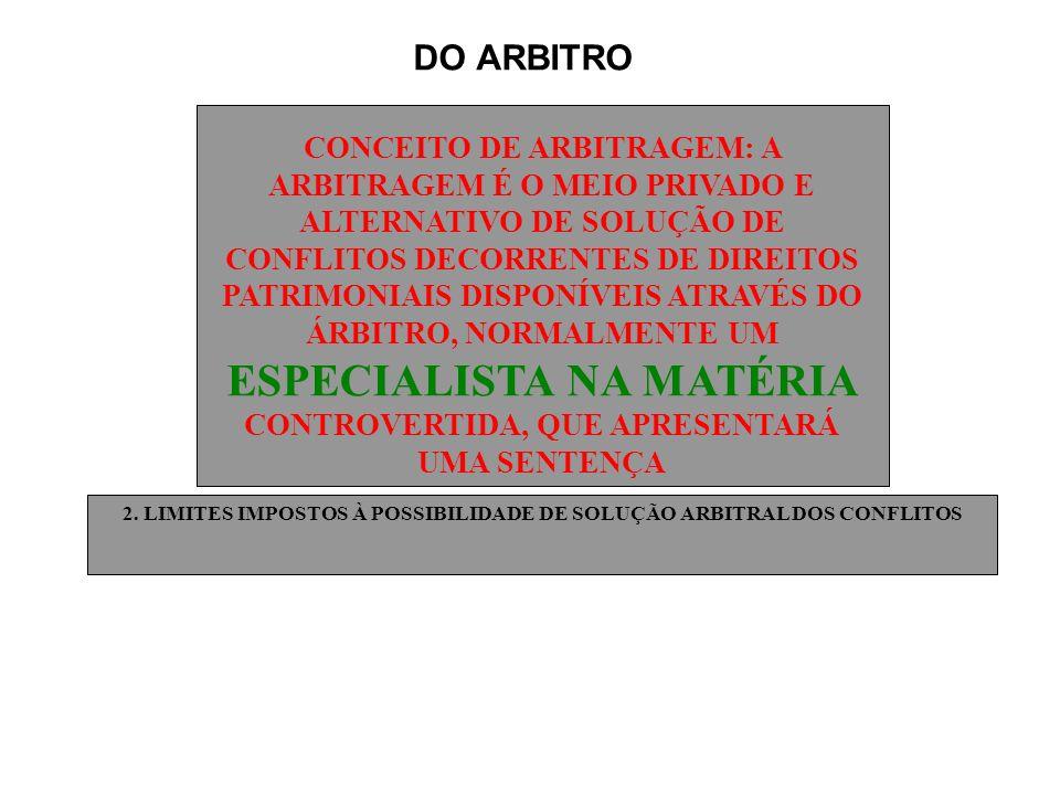 2. LIMITES IMPOSTOS À POSSIBILIDADE DE SOLUÇÃO ARBITRAL DOS CONFLITOS