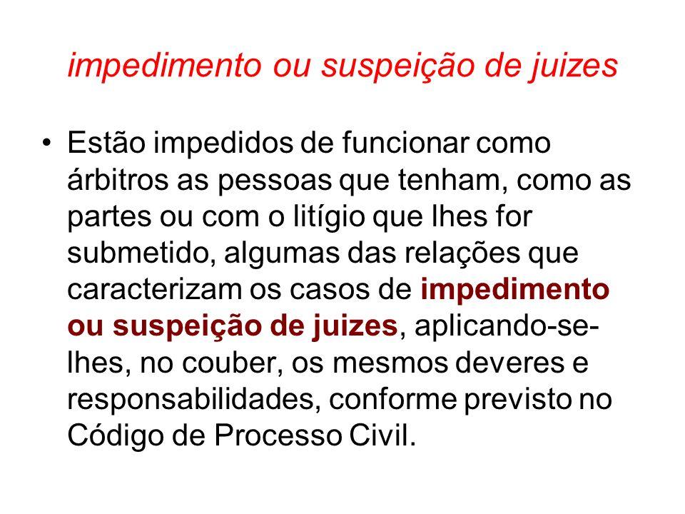 impedimento ou suspeição de juizes