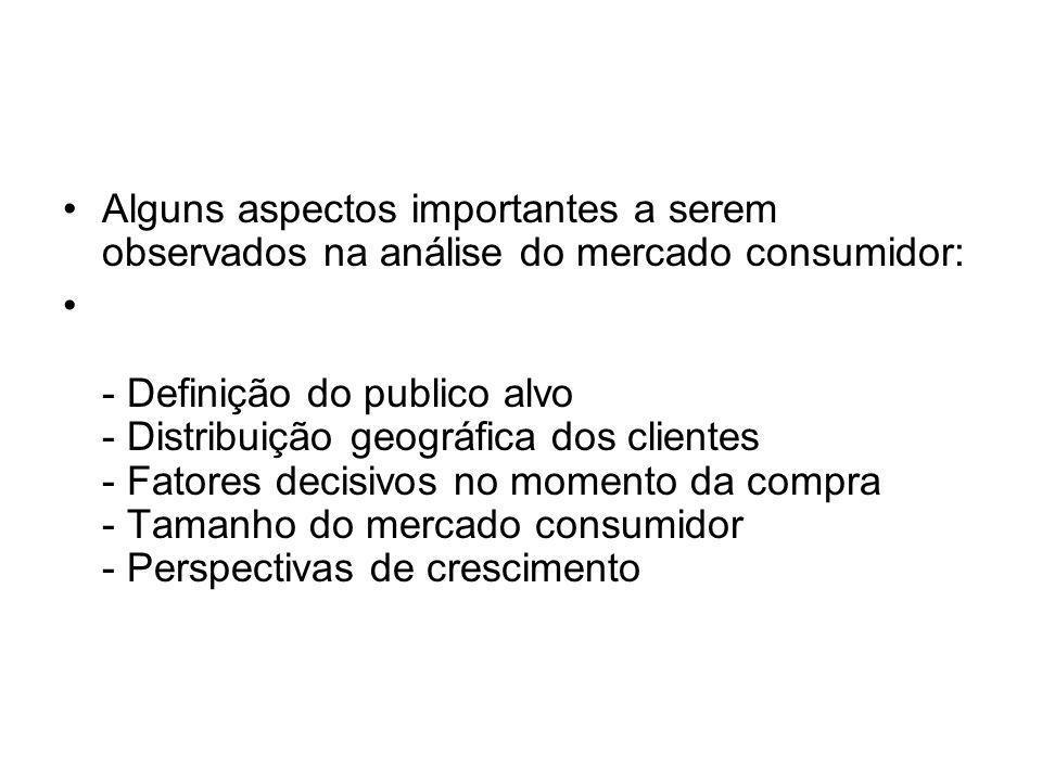 Alguns aspectos importantes a serem observados na análise do mercado consumidor: