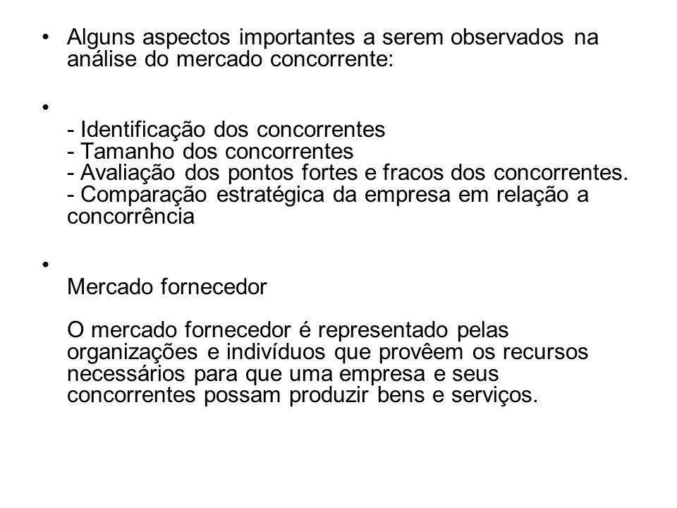 Alguns aspectos importantes a serem observados na análise do mercado concorrente: