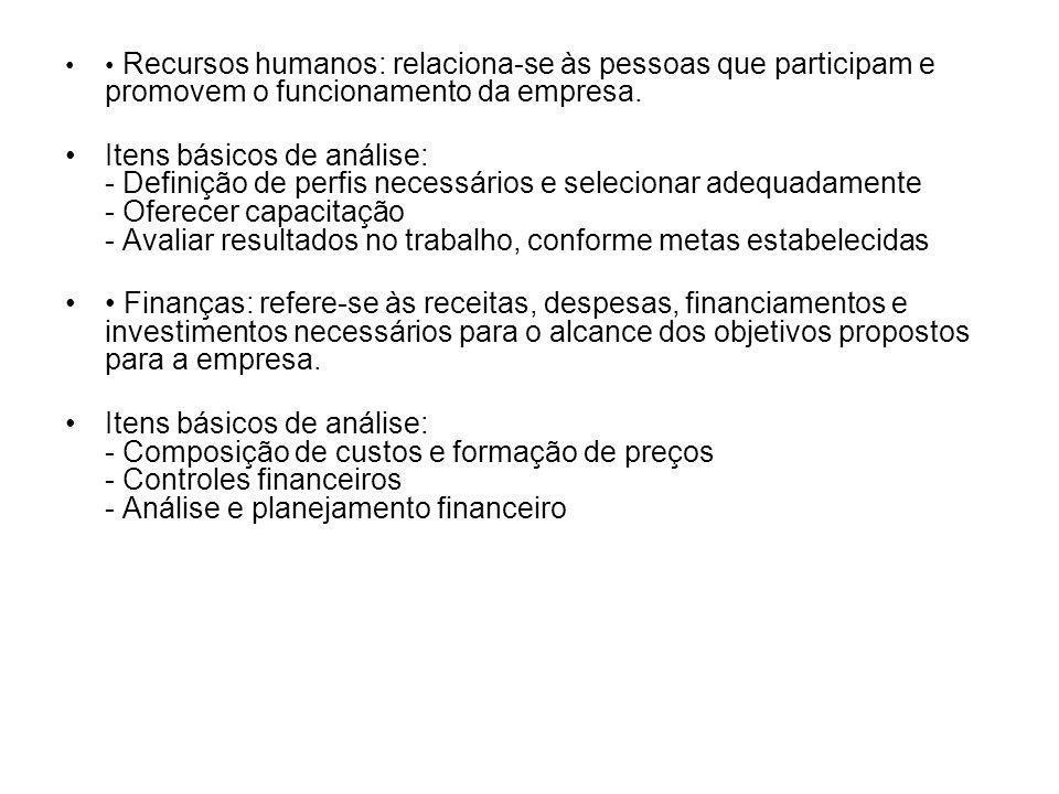 • Recursos humanos: relaciona-se às pessoas que participam e promovem o funcionamento da empresa.