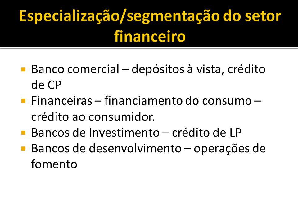 Especialização/segmentação do setor financeiro