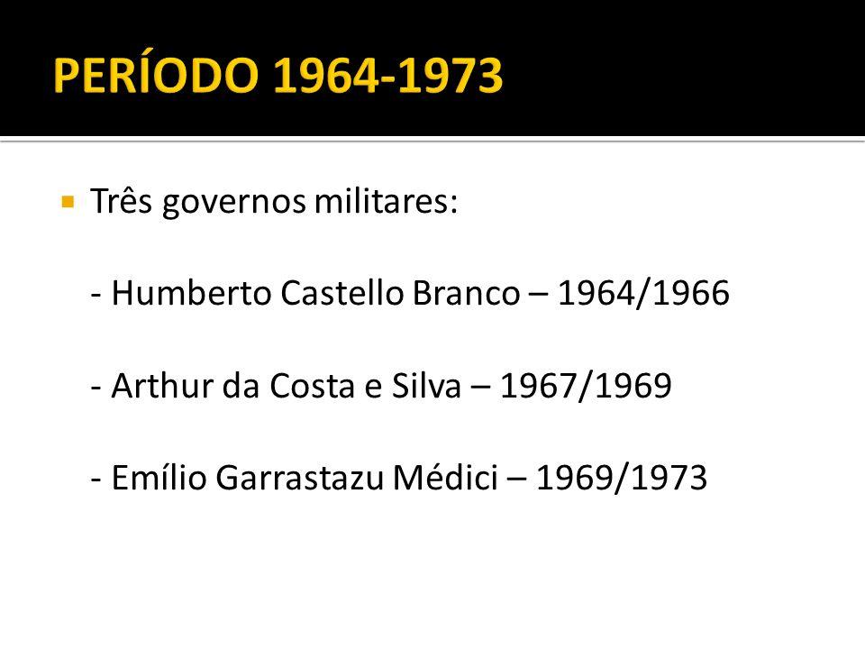 PERÍODO 1964-1973 Três governos militares: