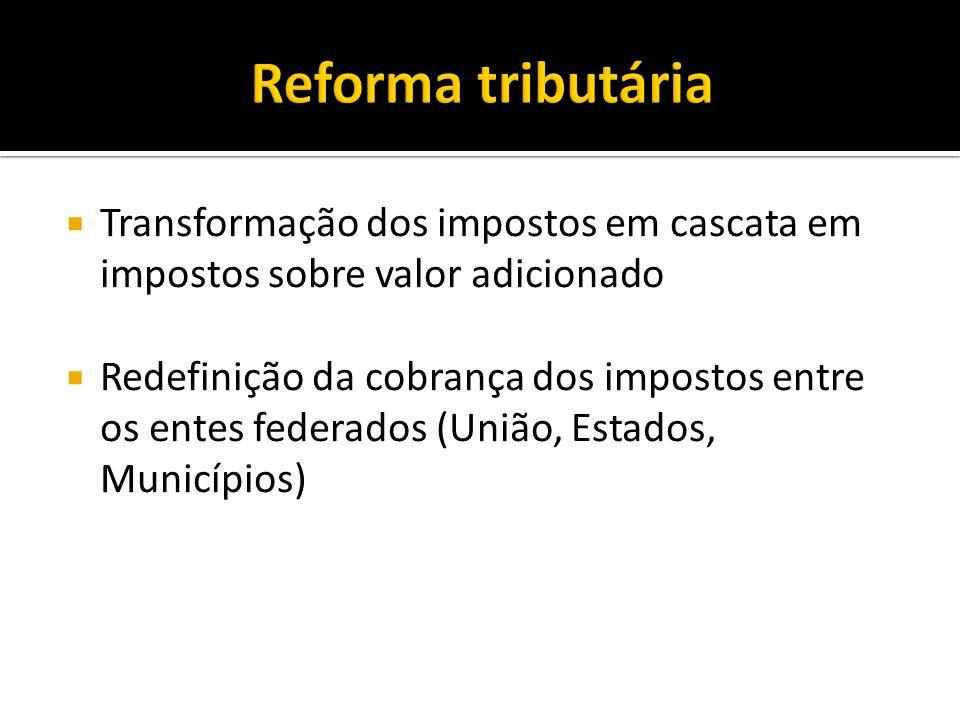 Reforma tributáriaTransformação dos impostos em cascata em impostos sobre valor adicionado.