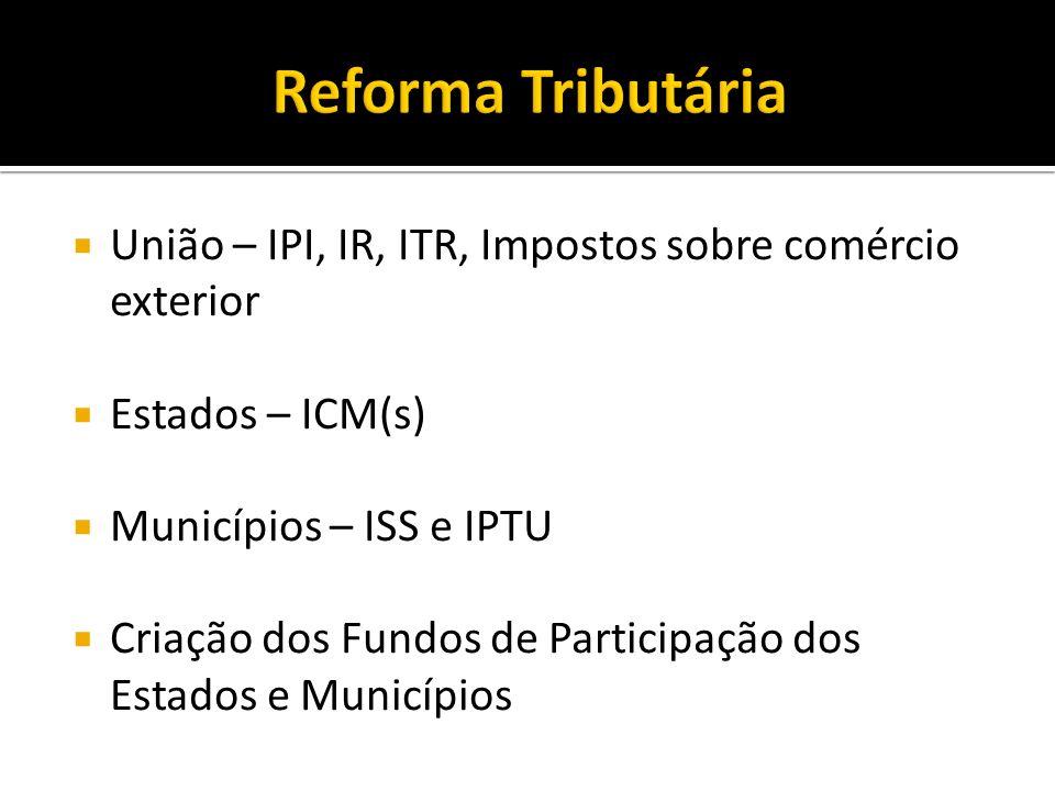 Reforma Tributária União – IPI, IR, ITR, Impostos sobre comércio exterior. Estados – ICM(s) Municípios – ISS e IPTU.