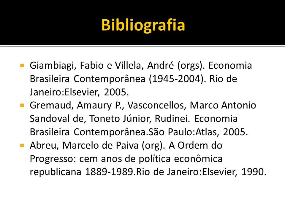 Bibliografia Giambiagi, Fabio e Villela, André (orgs). Economia Brasileira Contemporânea (1945-2004). Rio de Janeiro:Elsevier, 2005.