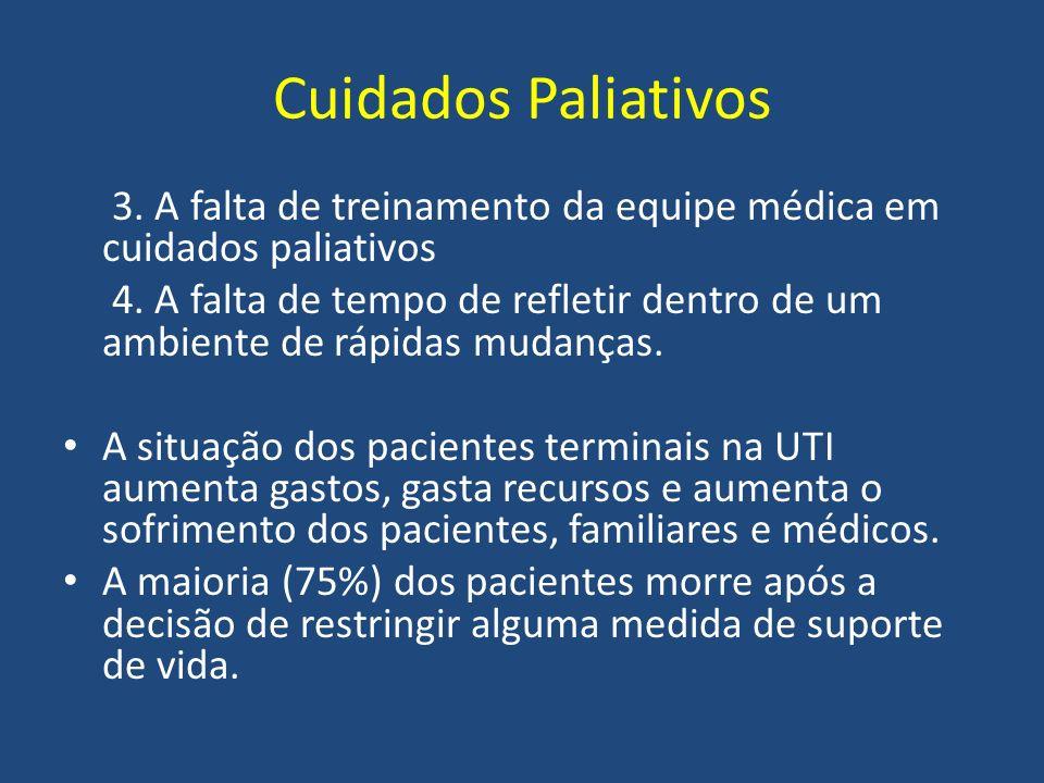 Cuidados Paliativos 3. A falta de treinamento da equipe médica em cuidados paliativos.