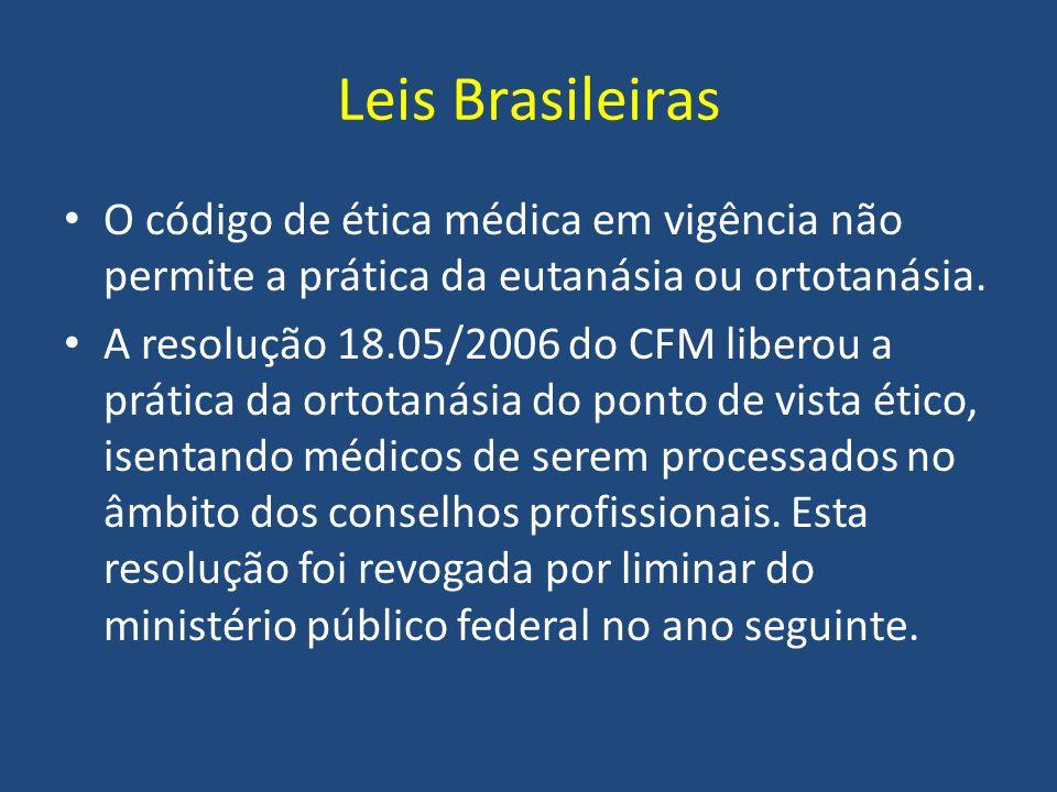 Leis Brasileiras O código de ética médica em vigência não permite a prática da eutanásia ou ortotanásia.