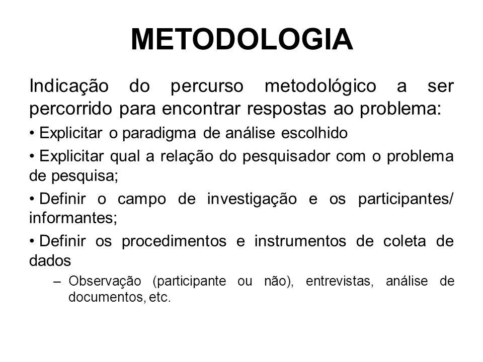 METODOLOGIA Indicação do percurso metodológico a ser percorrido para encontrar respostas ao problema:
