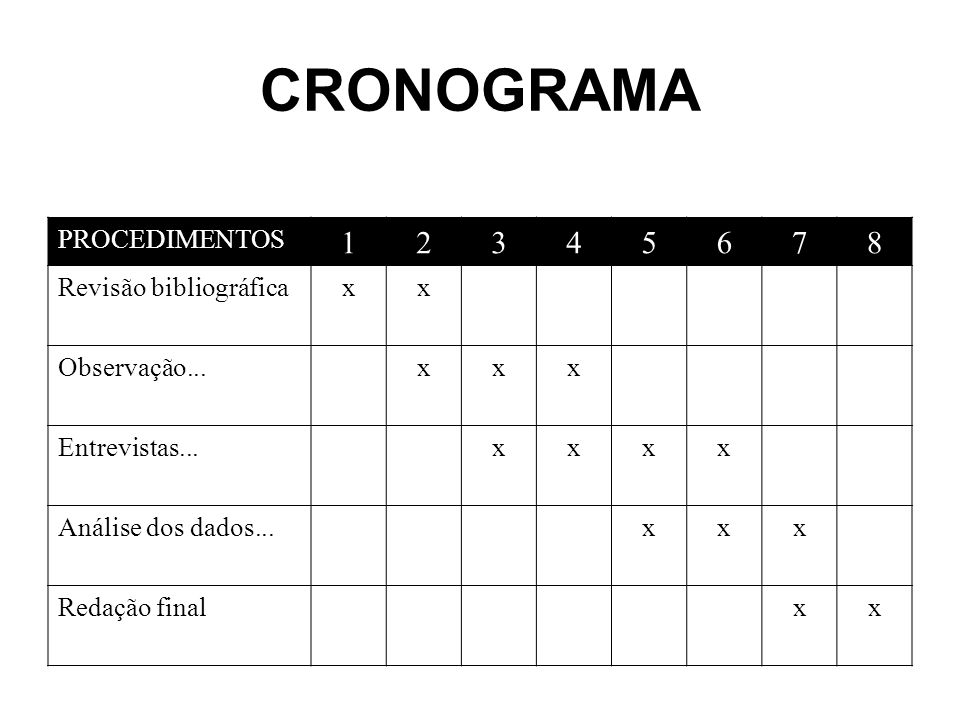 CRONOGRAMA 1 2 3 4 5 6 7 8 PROCEDIMENTOS Revisão bibliográfica x