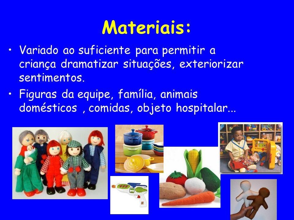 Materiais: Variado ao suficiente para permitir a criança dramatizar situações, exteriorizar sentimentos.