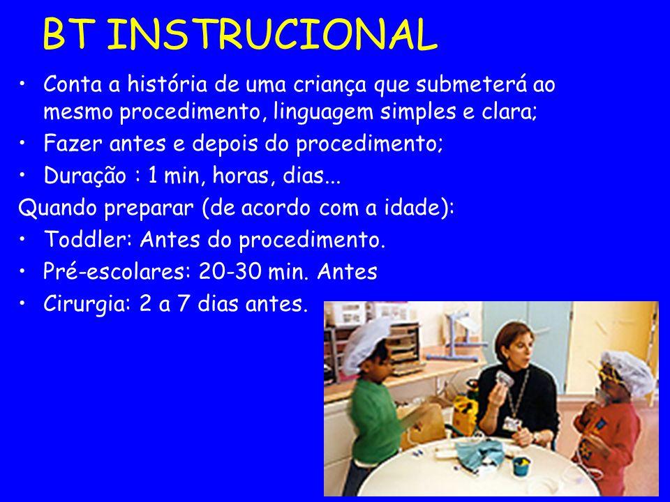 BT INSTRUCIONAL Conta a história de uma criança que submeterá ao mesmo procedimento, linguagem simples e clara;