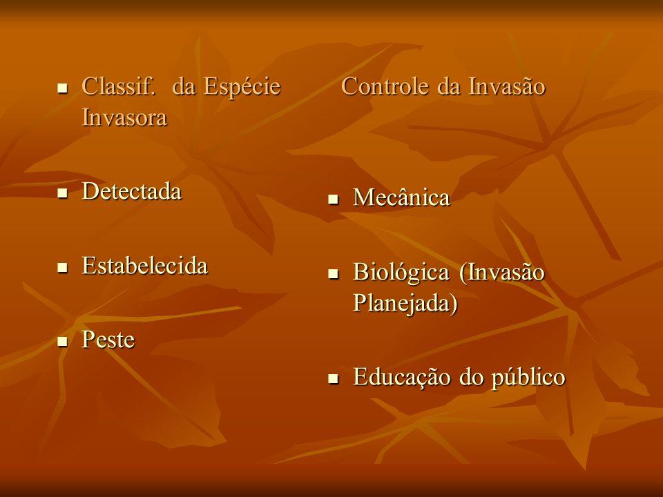 Classif. da Espécie Invasora