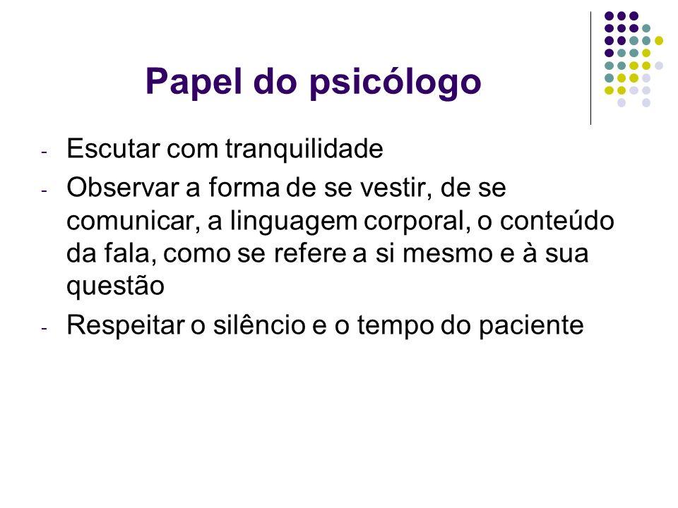 Papel do psicólogo Escutar com tranquilidade