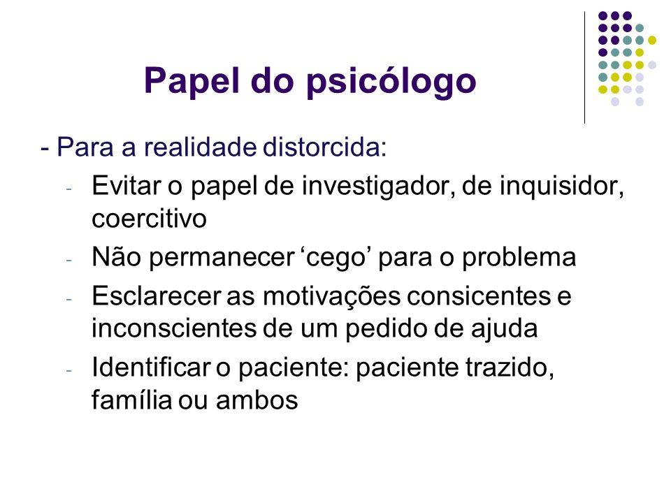 Papel do psicólogo - Para a realidade distorcida: