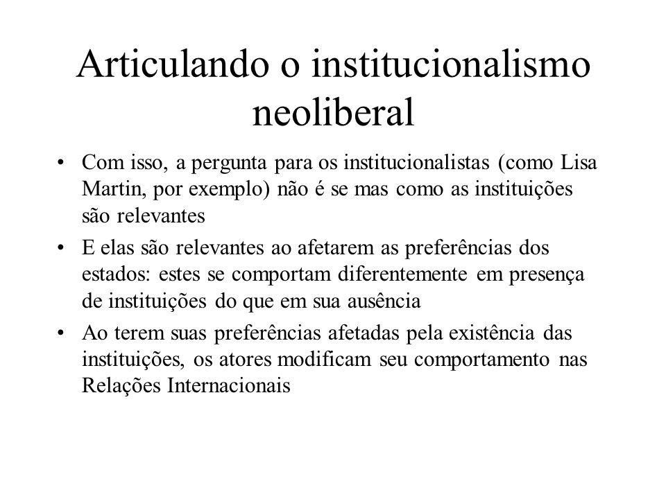 Articulando o institucionalismo neoliberal