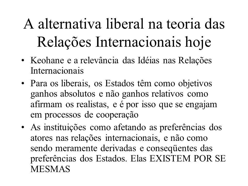 A alternativa liberal na teoria das Relações Internacionais hoje