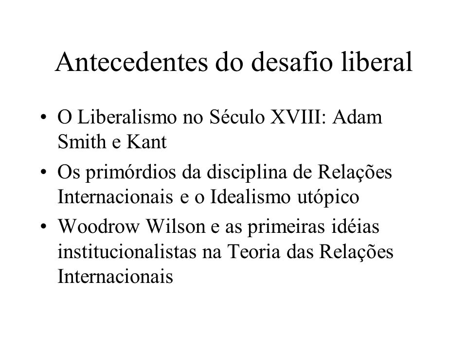 Antecedentes do desafio liberal