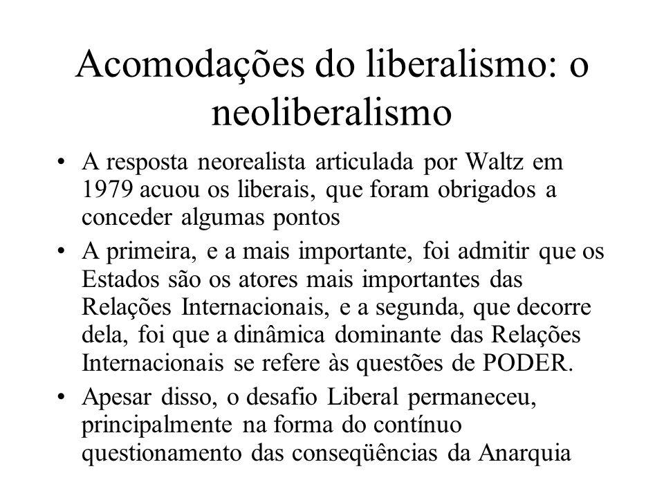 Acomodações do liberalismo: o neoliberalismo